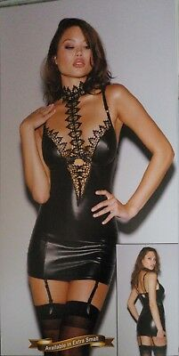 US Sexy Women Black Lace Up Backless Wet Look Bodycon Mini Dress Party Clubwear