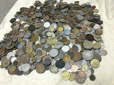 Huge 10 lbs of Damaged & Cull  FOREIGN / World Coins & US tokens WYSIWYG LOT #51