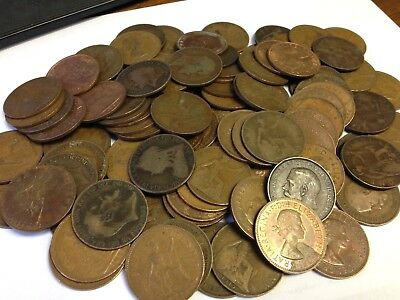 100 x Vintage British Large One Penny, UK copper Pennies Victoria to QEII lot#76