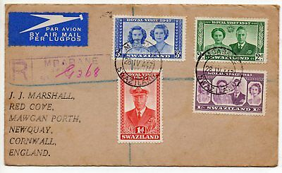 Registered Air Mail Envelope With 4 Swaziland Stamps ~ 1947.