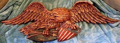 **RARE** Antique Hand Carved Americana Eagle in Flight