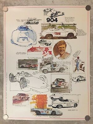 1976 Porsche Racing Models Drawings Poster RARE!! Awesome L@@K
