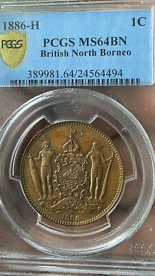 British North Borneo 1886-H 1/2 Cent PCGS MS-64 BN