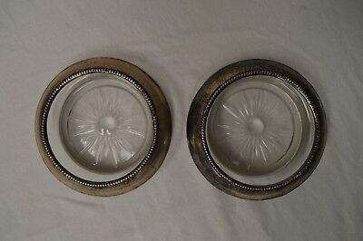 Vintage Pair Of Sterling Silver/ Glass Drink Coasters Frank M Whiting