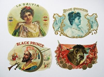 4 Assorted Trimmed Inner Cigar Box Labels From Victorian Scrapbook - Lot #1