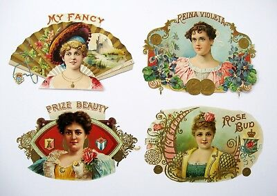 4 Assorted Trimmed Inner Cigar Box Labels From Victorian Scrapbook - Lot #2