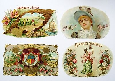 4 Assorted Trimmed Inner Cigar Box Labels From Victorian Scrapbook - Lot #5