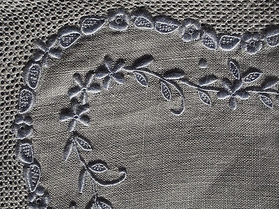 FINE Antique Swiss Appenzel Lavender Pullwork Hand Embroidery Bridal Hankie FC