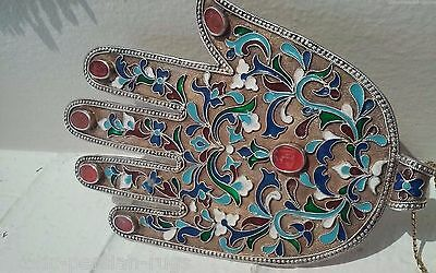 One Of A Kind Antique Persian Qajar Holy Silver And Enameled And Jeweled Hand