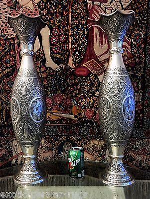 Pair Of Extra Large And Masive Antique Silver Isfahan Persian Vases Signed