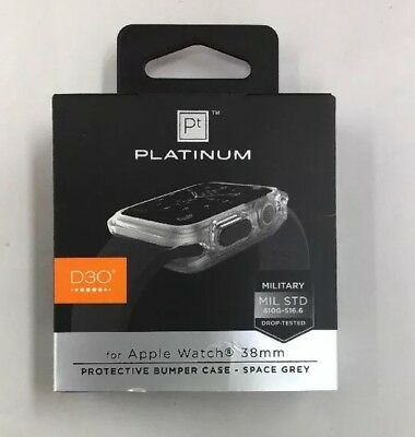 Platinum - D3O Protective Bumper Case for Apple Watch 38mm - Space Grey