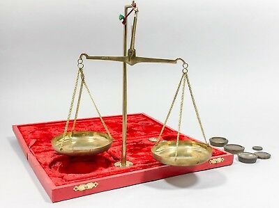 Vintage brass pharmacy balance scales Indian red velvet box antique weights