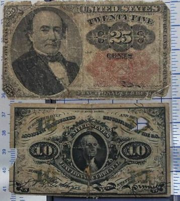 US Fractional Currency lot 25c Fifth Issue, 10c Third Issue G1805-005