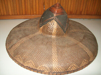 Vintage Chinese Coolie Straw Hat Heavy Bamboo Asian Straw Paddy Rice Farmer