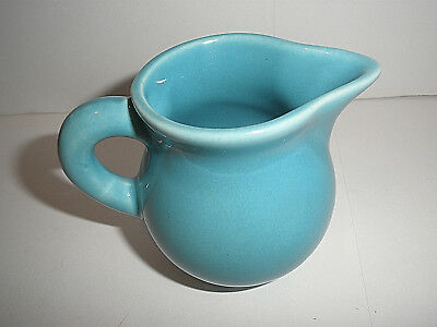 Vintage Perfect Little Turquoise Washed  Pitcher With Long Spout Unsigned Hall?