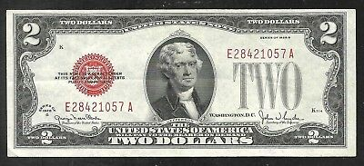 US - Two Dollar (Red Seal) Note - Series 1928G - VF+
