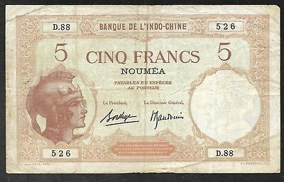 New Caledonia/Noumea - Old 5 Francs Note - circa 1926 - P36b - FINE