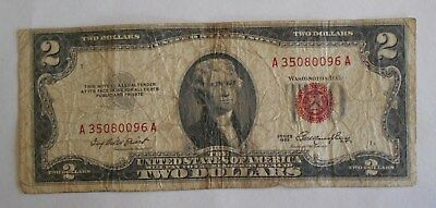 1953  $2.00 United States Two Dollar Bill Red Seal Note OFFSET * Printing Error