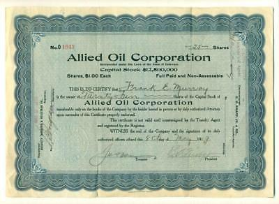 1919 ALLIED OIL CORPORATION CAPITAL STOCK CERTIFICATE Delaware OIL AND GAS