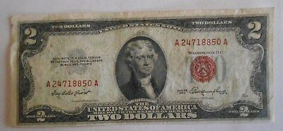 1953  $2.00 United States Two Dollar Bill Red Seal Note OFFSET / Printing Error