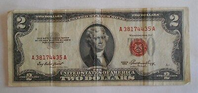 1953  $2.00 United States Two Dollar Bill Red Seal Note OFFSET . Printing Error