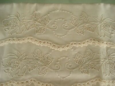 Ivory On Ivory Pillowcase Handwork French Knot Uncut Tube Crochet Scalloped Edge