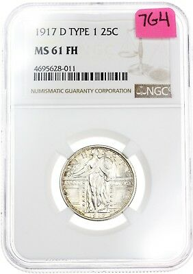 1917-D Standing Liberty Quarter 25C MS61 TYPE 1 FH Full Head NGC Silver Coin 7G4