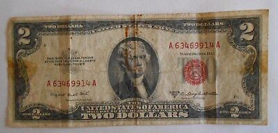 1953 B  $2.00 United States Two Dollar Bill Red Seal Note OFFSET Printing Error