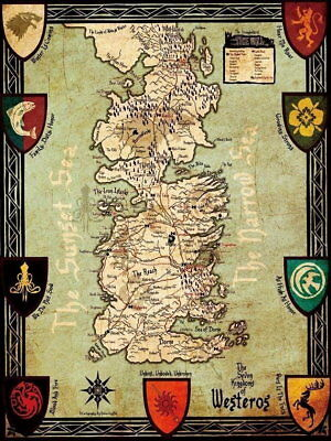 60763 Game Of Thrones Map Framed Canvas Print Au 26 95 Picclick Au