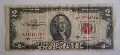 1953 B $2.00 United States Two Dollar Bill Red Seal Note