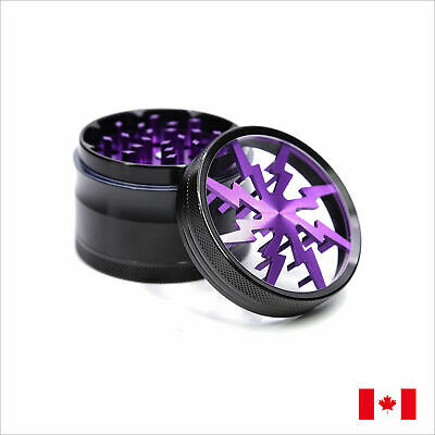 Lightning Designed 2.5 Inch 63mm 4 Piece Aluminum Tobacco Herb Grinder, Purple