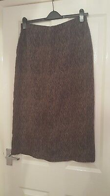 "Skirt Size 16 By St Micheal In Brown Mix  Rear Zip Length 32"" Vent Lined B5."