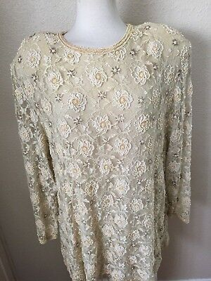 Vintage Judith Ann PLus Size 2X Ivory Lace and Beaded Blouse 100% Rayon Chiffon