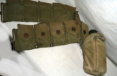 Vintage WW War 2 Ammo Belt with US Army Canteen