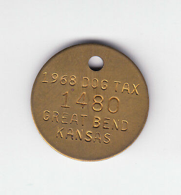 1968 Great Bend Kansas Dog Tax License Tag #1480
