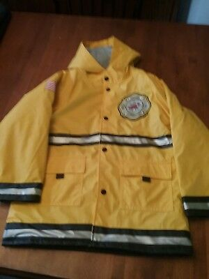 Western Chief Toddler Raincoat Firefighter Yellow Fleece Lined Reflective size 7