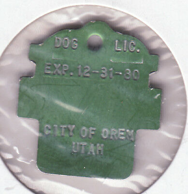 1980 City Of Oren Utah Dog License Tag With No Number