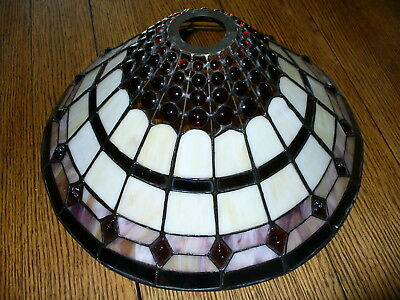 Fancy Stained Glass Slag glass multi colored lamp shade NR
