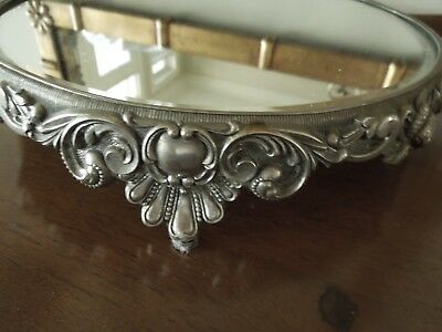 "Antique Pewter Mirrored Plateau Vanity Tray Berries Beaded Scrolls 10 1/2"" X 2"""