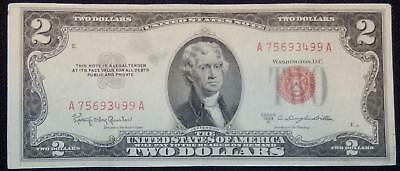 1953 C Series $2 Silver Certificate Red Seal Note - Very Fine