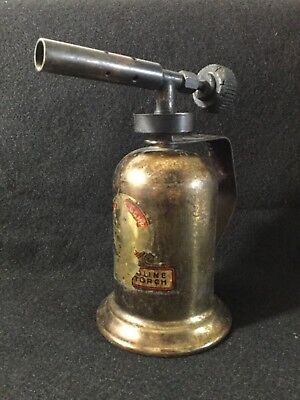 Vintage solid brass hand blow torch w/handle