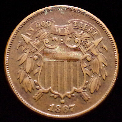 Beautiful 1867 Two Cent Piece ~ Copper 2 Cent Coin ~ Original Copper Currency ~