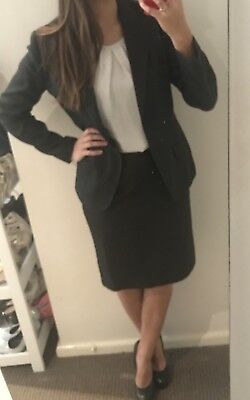 GREY BUSINESS SUIT Womens 2 piece work set gray blazer Jacket Pencil Skirt 10 12