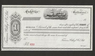 Vintage Furness Whity&  Co. Unused Mint Ship Illustrated paper Bond ? Check ?