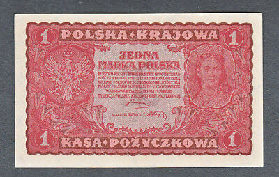 Uncirculated Polish State Loan Bank One Marka Note #23 1919