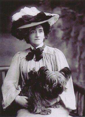 Antique Photo~Woman w Large Hat Holds Skye Terrier Puppy Dog~NEW Lge Note Cards