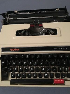 Vintage Retro Brother Deluxe 760TR Typewriter with Case tested working well