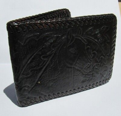 Leather Billfold Wallet Hand Tooled Horse Design