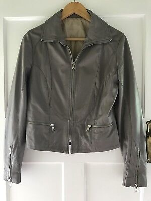Italian Leather Jacket Pinky Grey Lined Never Worn Excellent Condition Fit 10