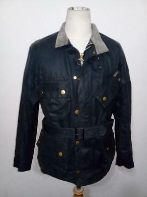 Mens Barbour A7 International Waxed Jacket Size 38 Navy Blue